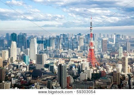 Tokyo Tower with skyline cityscape in Japan
