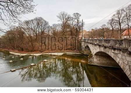Maximilian Bridge Over Isar River In Munich, Upper Bavaria, Germany