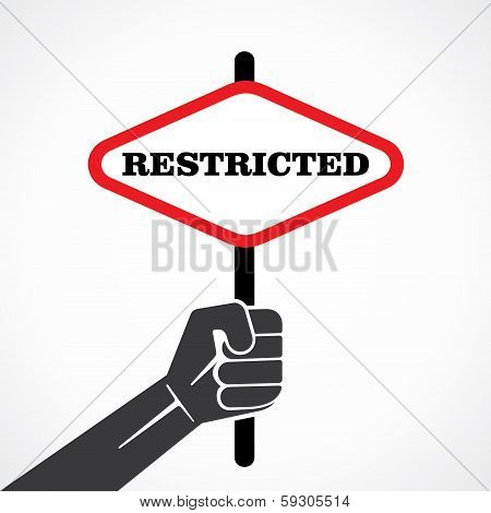 restricted word banner hold in hand stock vector