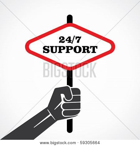 24/7 support word banner hold in hand stock vector