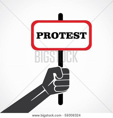 protest word banner hold in hand stock vector