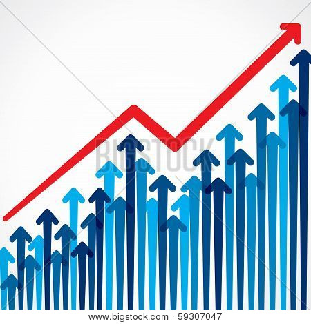business graph design with arrow stock