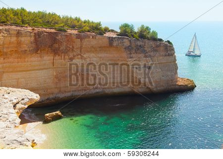 Praia de Benagil beach on atlantic coast Algarve Portugal