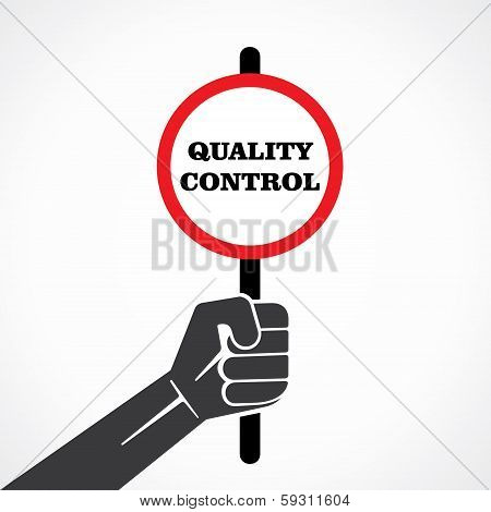 quality control word banner held in hand stock vector