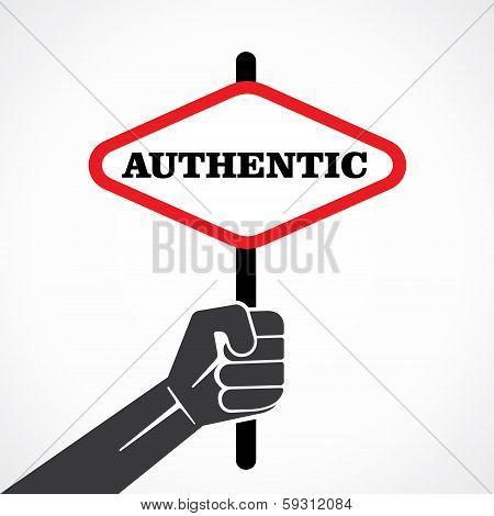 authentic word banner held in hand stock vector