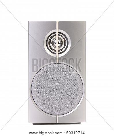 Close up of gray sound speaker.