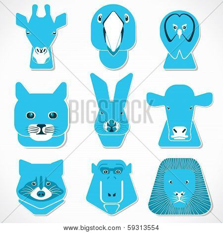 creative face of animal stock vector