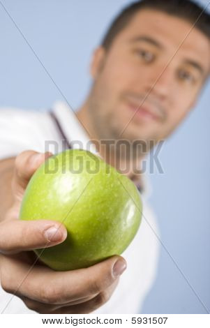 Apple In Man Hand