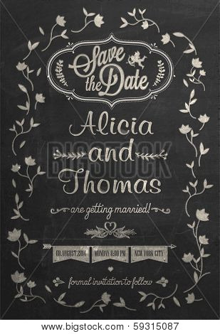 Save The Date Wedding invitation Card On Blackboard With Chalk