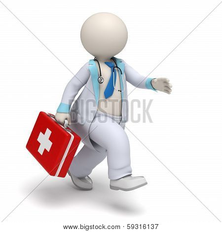 3D Doctor With Big First Aid Case Running - Emergency