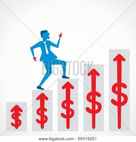 men run on business growth pillar stock vector
