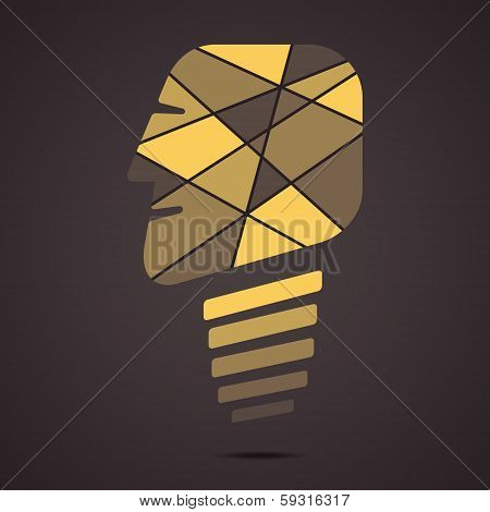 creative bulb face vector
