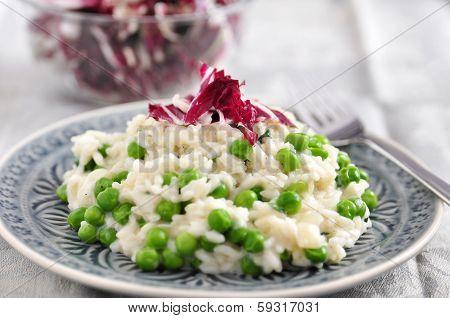 Pea Risotto with Radicchio Salad
