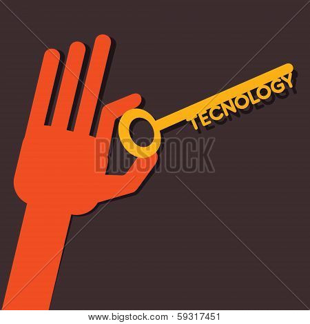 Technology key in hand stock vector