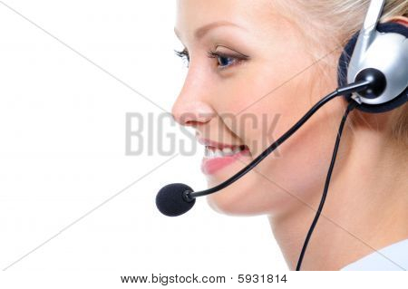 Profile Face Of Happy Beautiful Female Operator