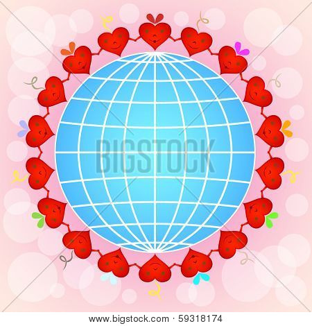 Cartoon red hearts circle around globe on pinky background.