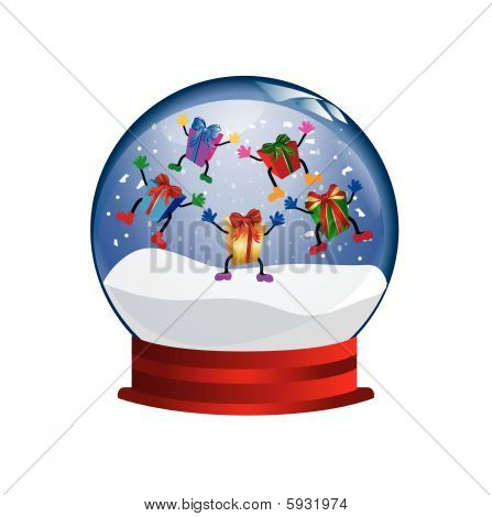 snowglobe with jumping presents