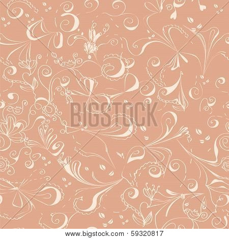 Floral abstract tenders seamless pattern for wedding