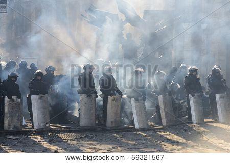 KIEV, UKRAINE - February 3, 2014: Ukrainian revolution, Euromaidan. Police cordon on Grushevsky street