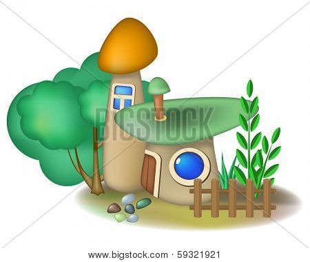 Two Mushroom Houses And Bush
