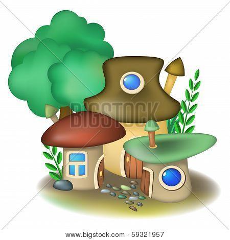 Three Mushroom Houses