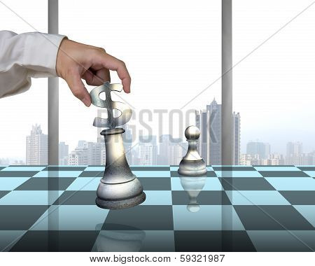 Playing Chess With Usd Symbol Piece, Pawn And City View