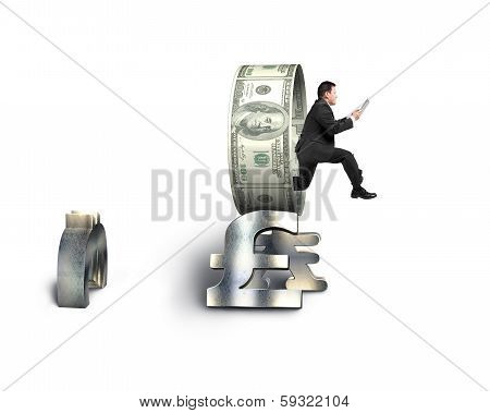 Businessman Using Tablet Jumping Through Money Circle