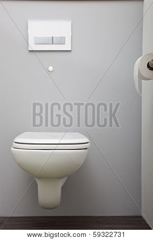 Wall Mounted Toilet With A Concealed Cistern
