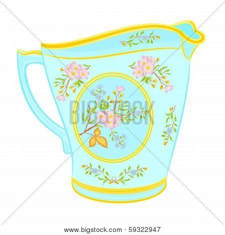 Porcelain milk jug with floral pattern