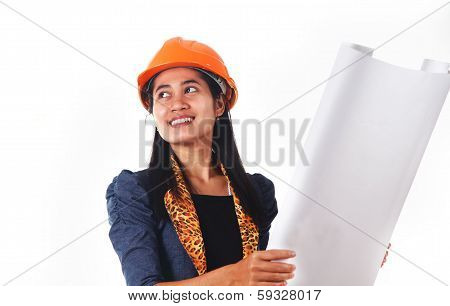 Female Architect Checking A Drawing
