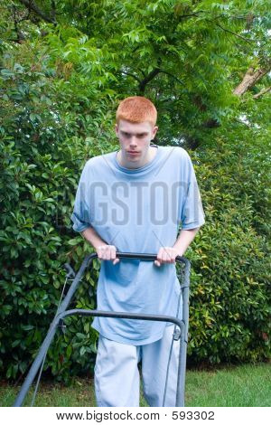 Teenager Mowing The Lawn 4
