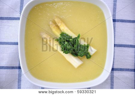 A beautiful light, creamy asparagus soup,.