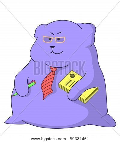 Cartoon director with documents and pen