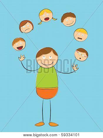 Rough Stick Figure - Juggling People