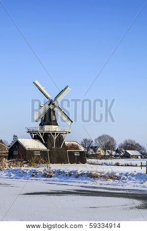 Beautiful Old Dutch Woodmill Of 1903 In Winter