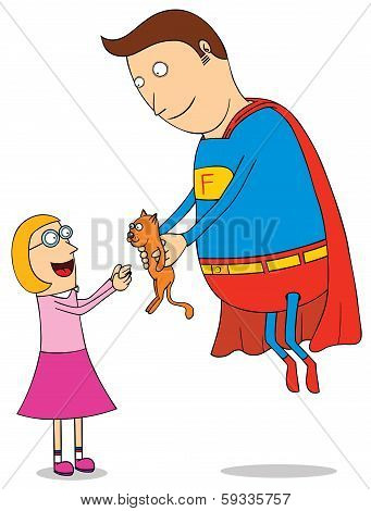 Super Hero Saving Kitty