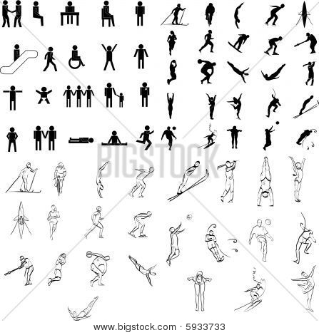 Collection of figure drawings and silhouette illustration vectors