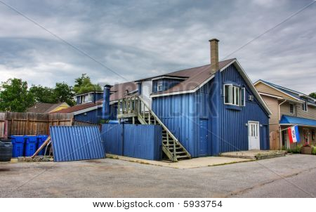 a blue house
