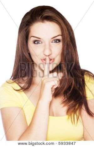 Beautiful Woman Saying Shh