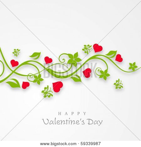 Happy Valentines Day celebration concept with beautiful floral design and pink heart shapes on grey background, can be use as flyer, banner or poster.