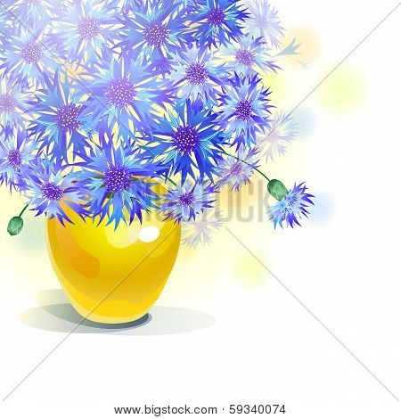 Bluebottle bouquet in yellow vase