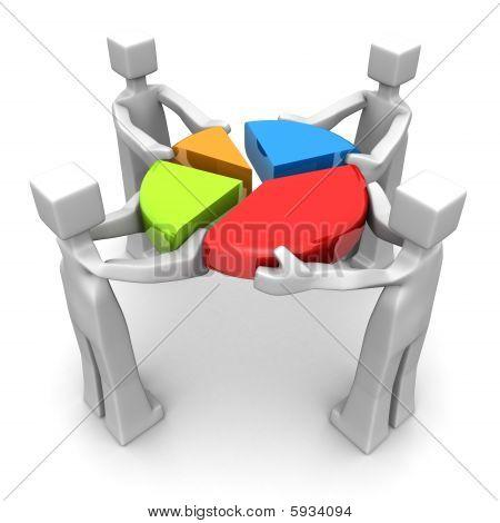 Negocio trabajo en equipo y el concepto de logro de rendimiento