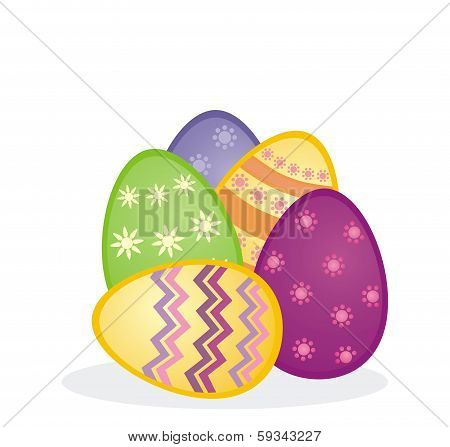 Colorful easter eggs icon composition. Vector illustration isolated on white background
