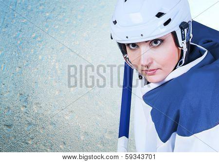 Beautiful Ice Hockey Female Player Fashion Portrait On The Ice Background