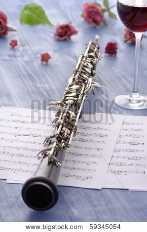 Oboe With Notes And Summer Feeling