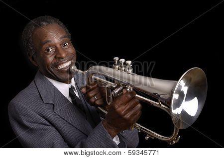 Afroamerican Jazz Musician With Flugelhorn Smiling