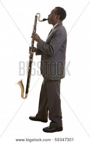 Afroamerican Jazz Musician With Bass Clarinet