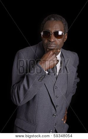 Elder Black Senior With Sunglasses