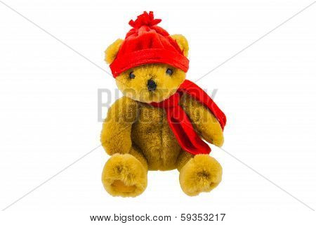 Teddy Bear With Red Scarf And Hat