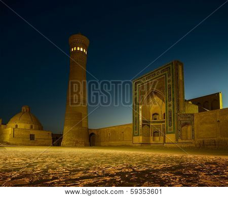 Buildings of Poi Kalyan complex at night. Bukhara, Uzbekistan